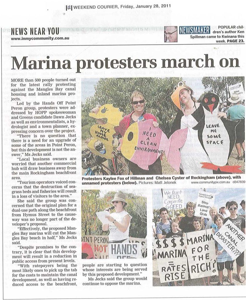 marina protestors march on WC 28.01.11